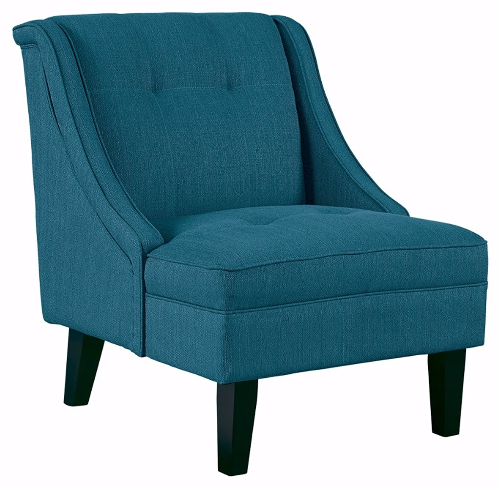 Ashley Furniture Signature Design -Clarinda Accent Chair - Wingback - Modern -  Blue - BLUE ACCENT CHAIR: The clean lines and vibrant hue of this chair mean deep-seated, luxurious comfort that isn't afraid to show off. What a fun, glamorous way to deck out your room in high style PLUSH UPHOLSTERY: This chair is made with 100% polyester for ultimate comfort and support. Exposed feet have a faux wood finish MODERN FLAIR: With tapered legs, a wingback design and subtle tufting, you'll find it's a fashionable fit for any room in your home - living-room-furniture, living-room, accent-chairs - 71E7Zmzs6JL -