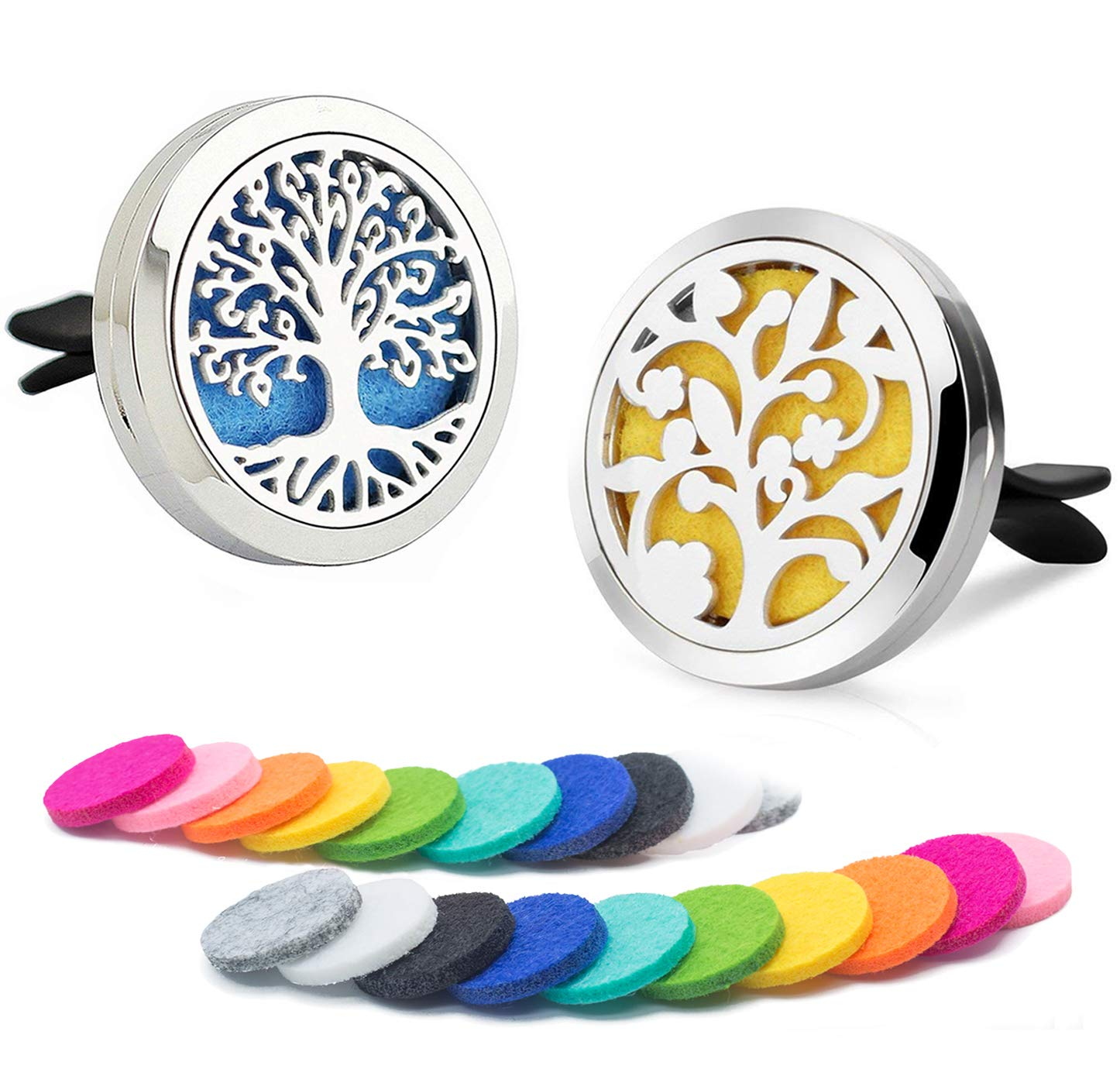 DAILUMI 2PCS Car Air Freshener Aromatherapy Essential Oil Diffuser Vent Clip - Flower & Tree of Life Good Luck Fragrance Locket with 20 Refill Pads Portable for Office Travel Home Vehicle