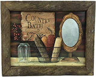 product image for Country Bath Farmhouse Print with Rustic Tobacco Lath Board Frame