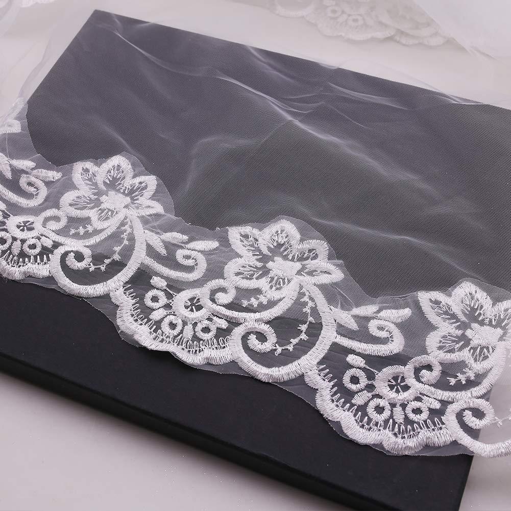 Wedding Bridal Veil, 102 Inch Lace Appliques Wedding Veil Women\'s Bridal Wedding Veil Bride Accessories, 2PCS Confession Cards, White