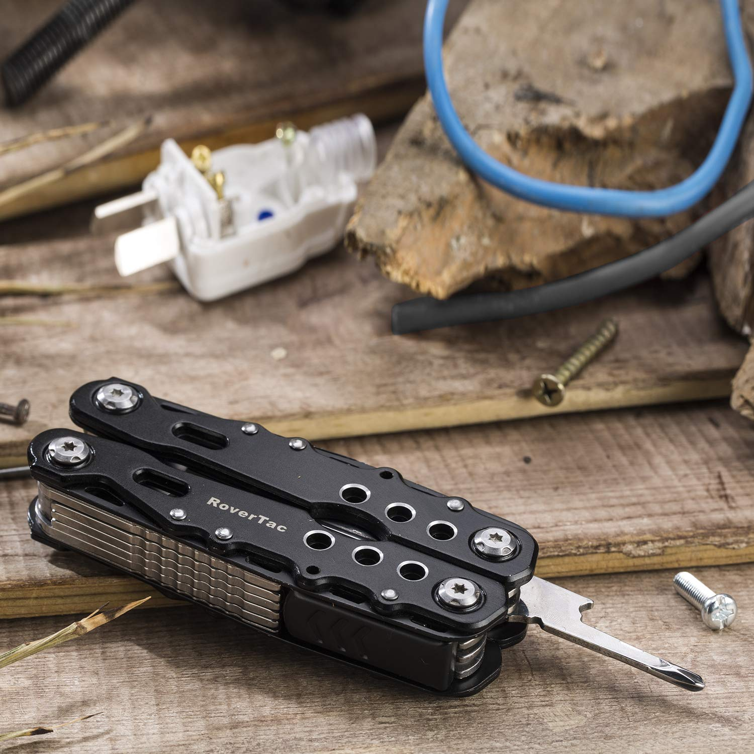 12 in 1 Multi tool Pliers RoverTac Pocket Knife with Durable Nylon Sheath, Multitool with Pliers, Bottle Opener, Screwdriver, Saw-Perfect for Outdoor, Survival, Camping, Fishing, Hiking (black) by RoverTac (Image #4)