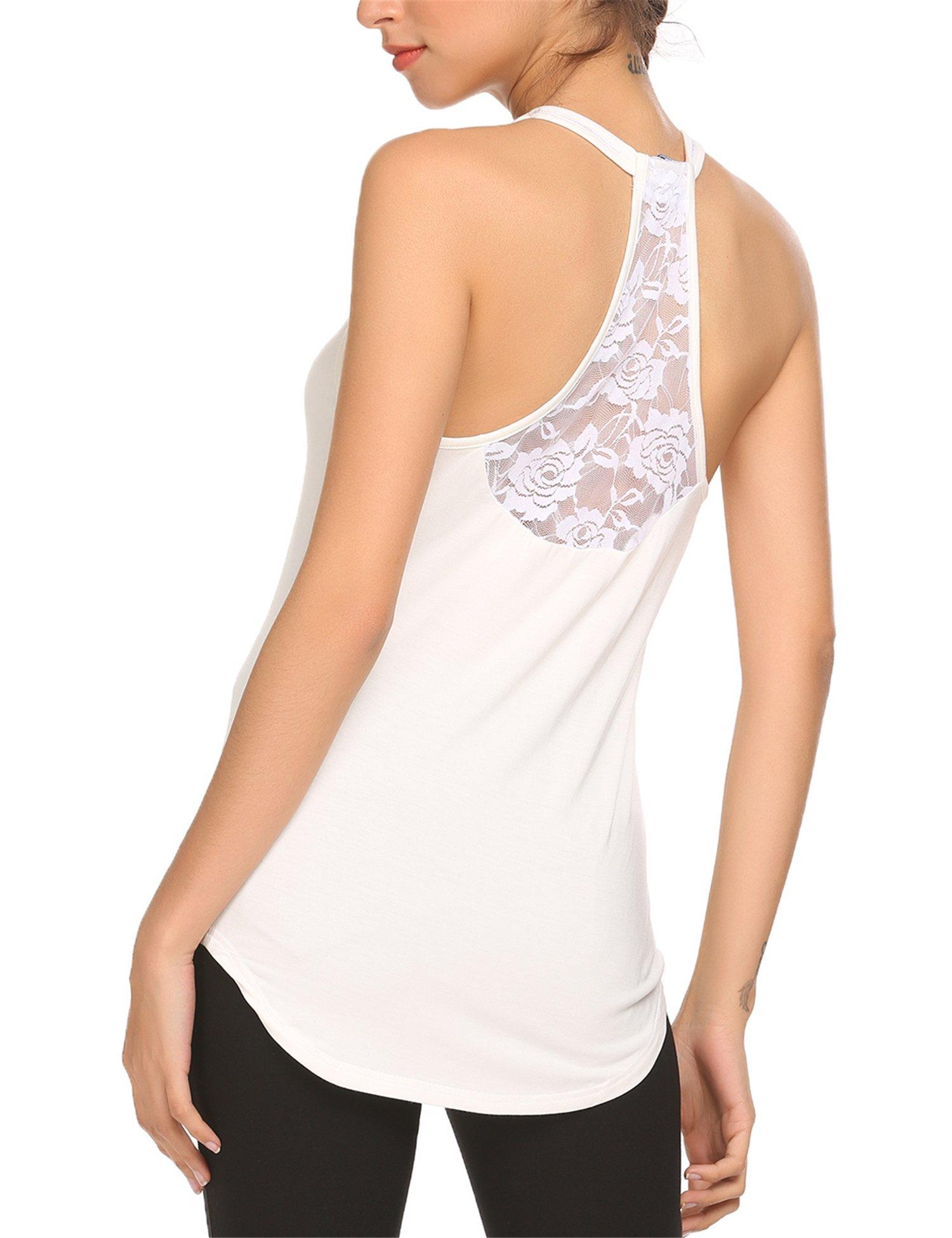 Mofavor Women's Sleeveless Crochet Lace Camisole Vest Halter Racerback Tank Top,White,Large by Mofavor (Image #1)