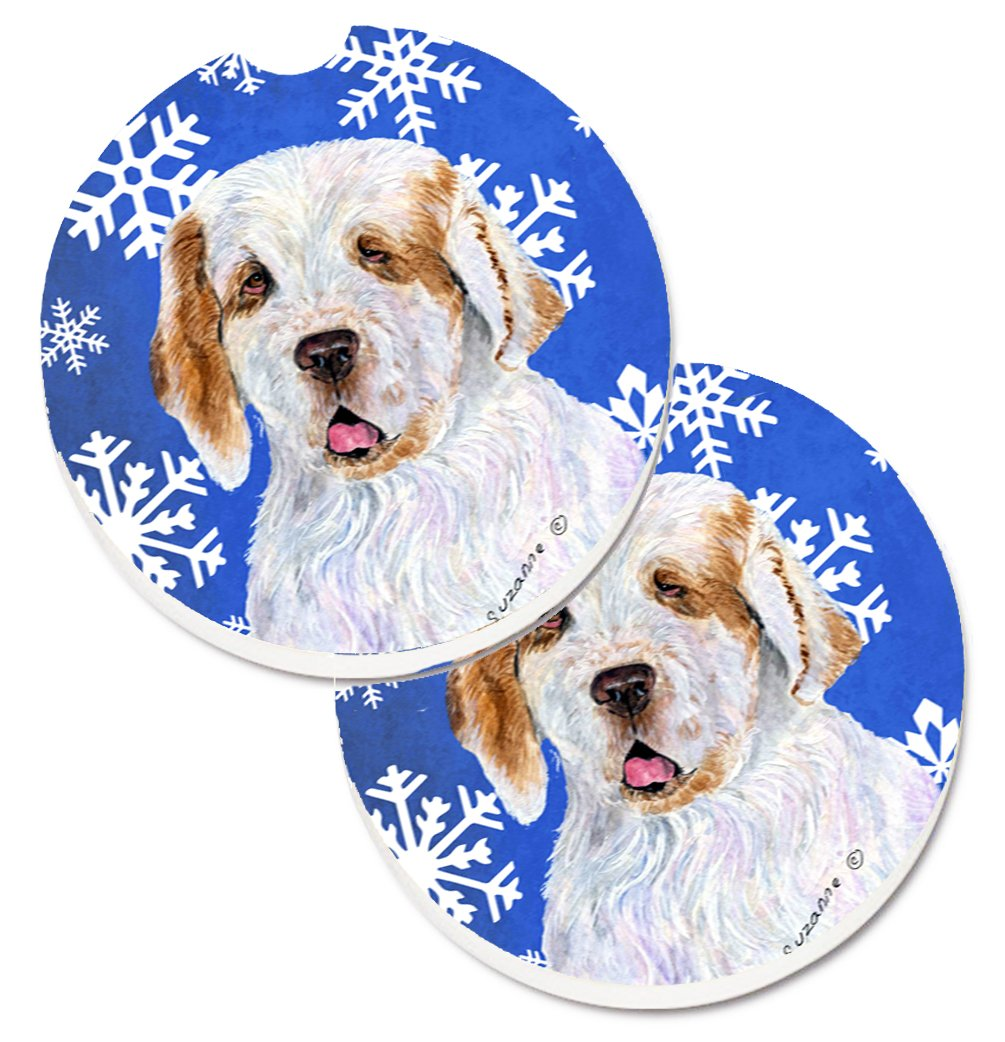 Caroline's Treasures SS4638CARC Clumber Spaniel Winter Snowflakes Holiday Set of 2 Cup Holder Car Coasters, Large, multicolor 1