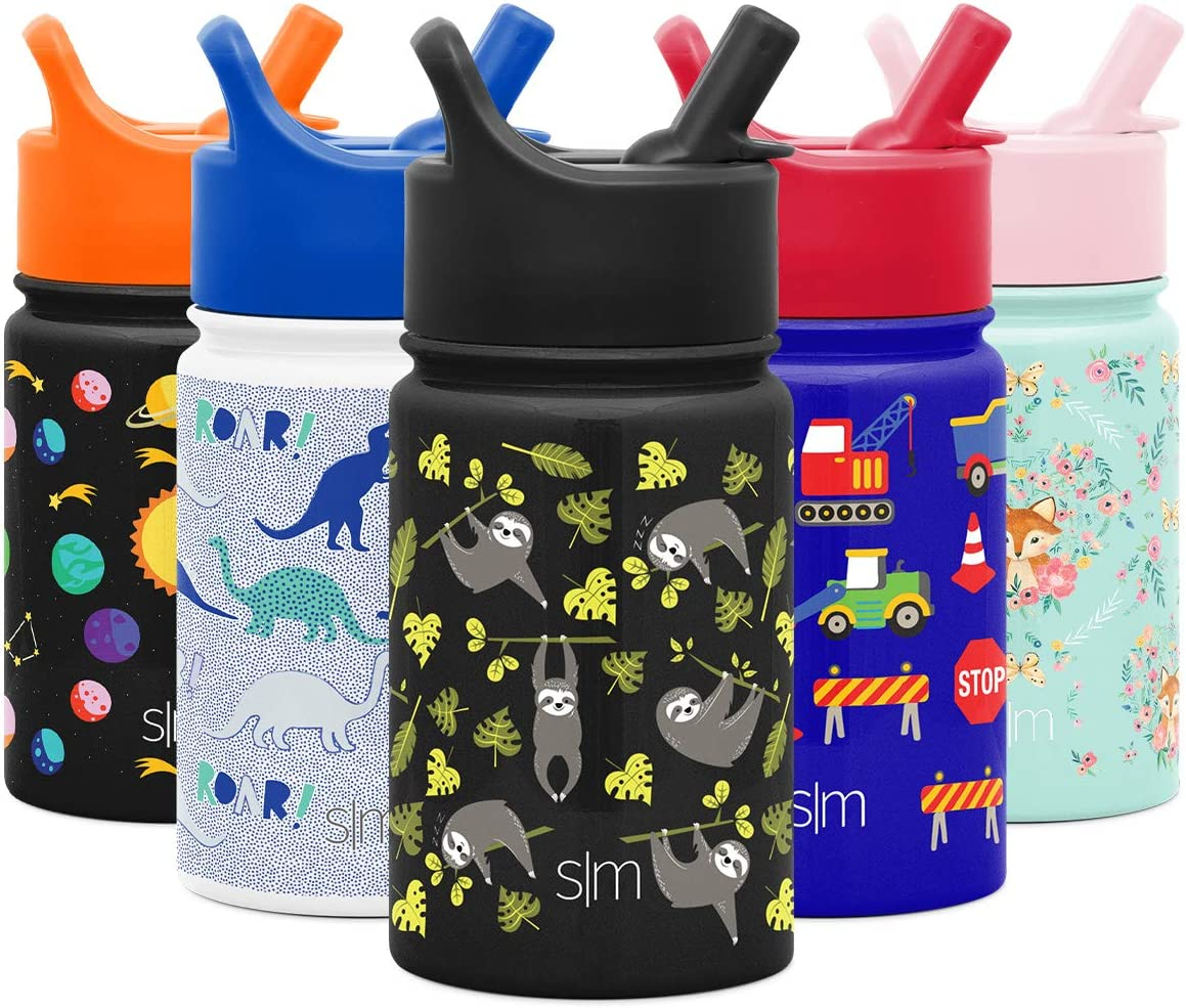 Simple Modern 10oz Summit Kids Water Bottle Thermos with Straw Lid - Dishwasher Safe Vacuum Insulated Double Wall Tumbler Travel Cup 18/8 Stainless Steel Adventure Sloth