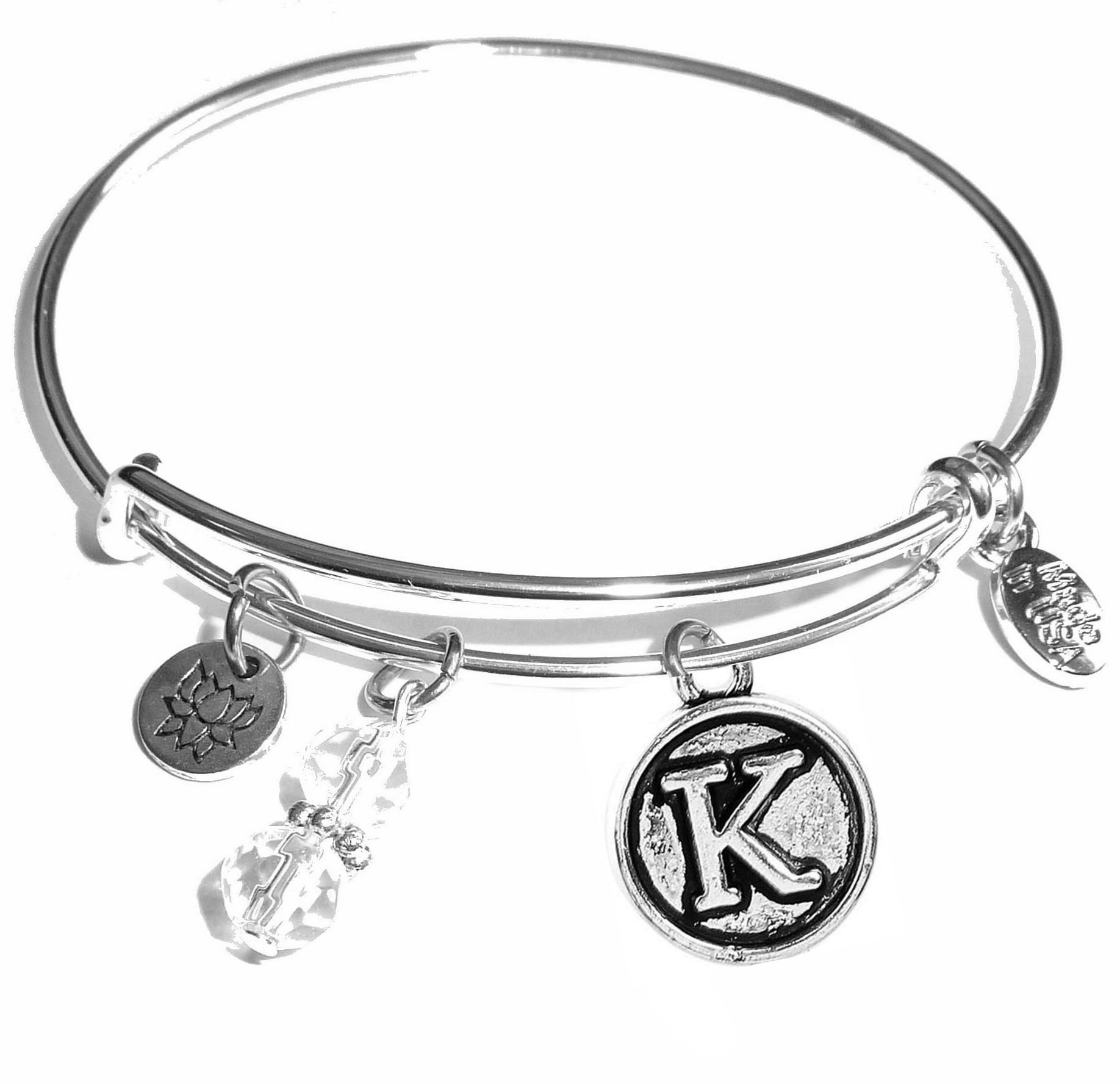 Hidden Hollow Beads Initial Expandable Wire Bangle Bracelet, in The Popular Style (K)