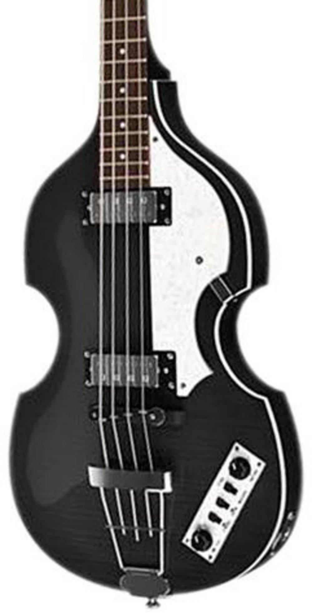 Hofner IGNITIONBK Ignition Electric Violin Bass Guitar, Rosewood Fingerboard, Black Finish by Hofner