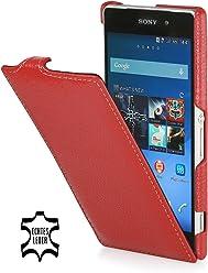 StilGut Housse UltraSlim en cuir pour Sony Xperia Z2, en rouge