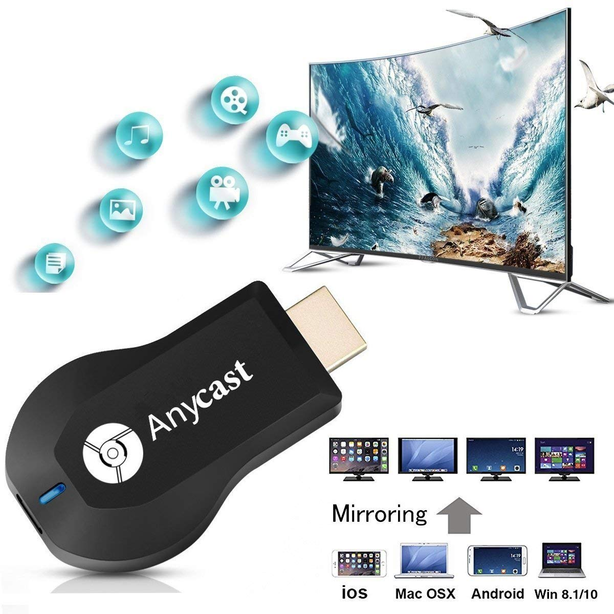 YABER 5800 Lumens 1080P Proyector Anycast WiFi Dongle 1080P ...