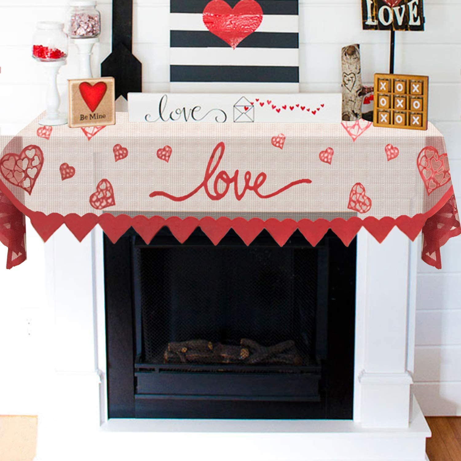Proposal Lace Mantel Cover Runner for Home Living Room Decorations Red Heart Mantle Scarf for Fireplace Decorations Special Night Romantic Indoor Decorations for Valentines Day Anniversary