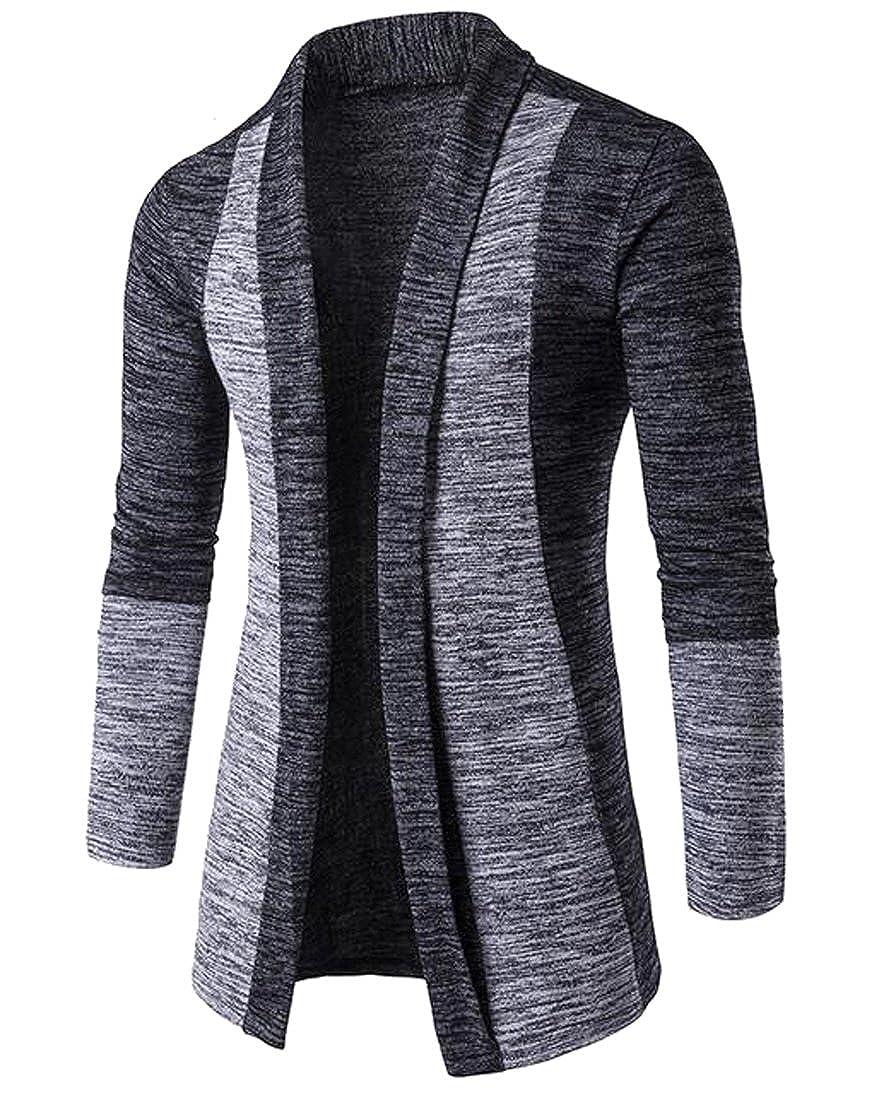 Oberora Mens Fashion Contrast Slim Shawl Collar Open Front Cardigan