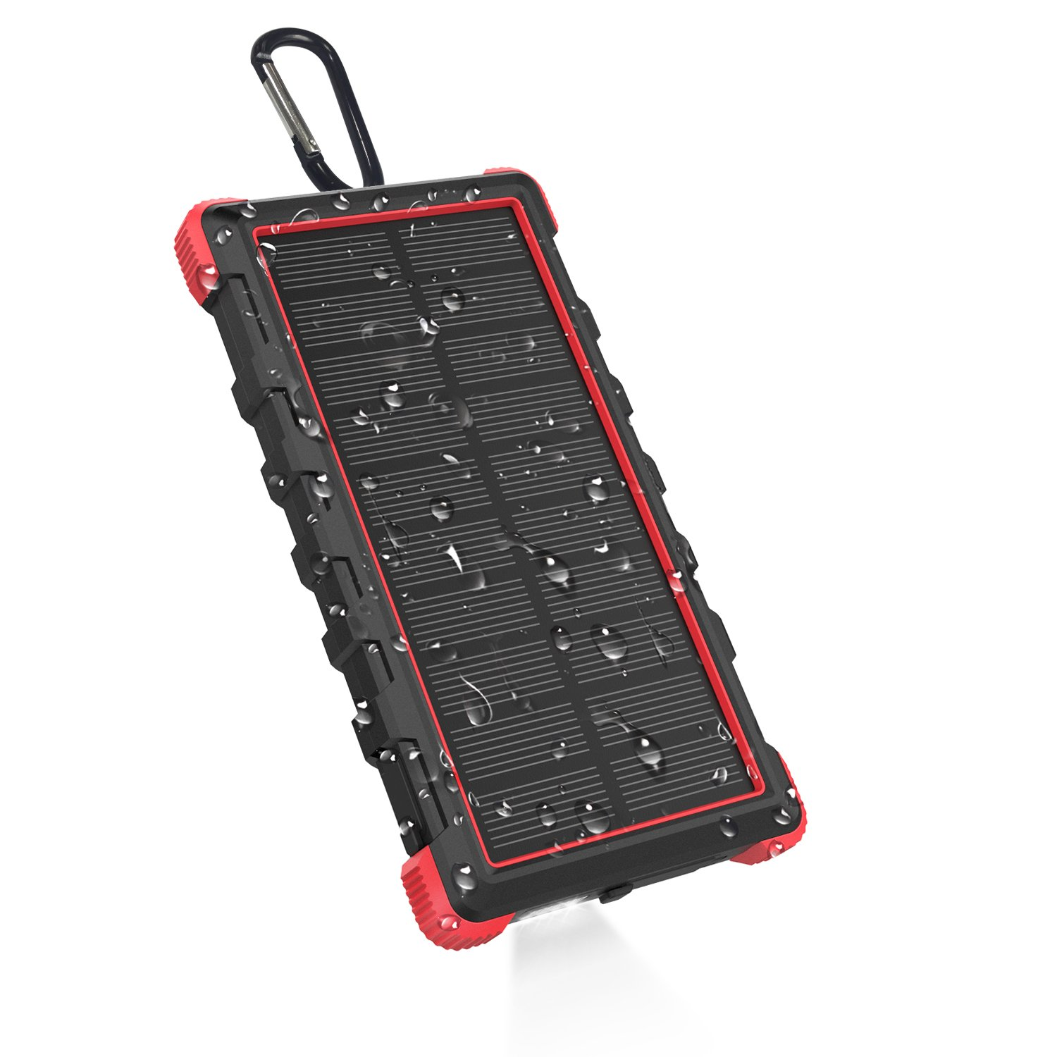[Type-C] OUTXE 10000mAh Rugged Solar Charger with Flashlight Waterproof Portable Power Bank Outdoor