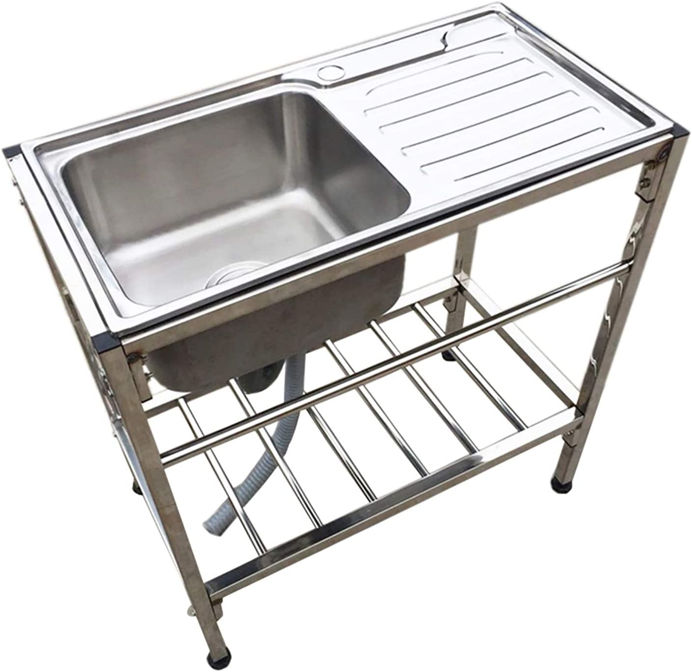 HTYQ Fregadero de Acero Inoxidable para Cocina Comercial, Fregadero con Soporte, Apto para Cocina, lavadero de baño, Patio, Garaje, sótano