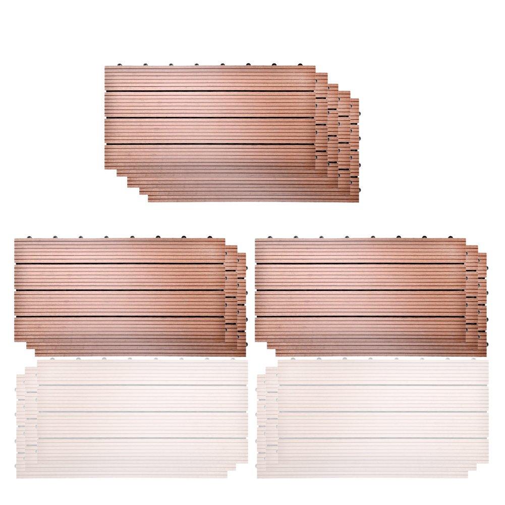11x Gray Strip Pr/ägung 30 * 30cm SIENOC Terrassen-Fliese aus WPC Kunststoff Balkon Bodenbelag mit Drainage Unterkonstruktion