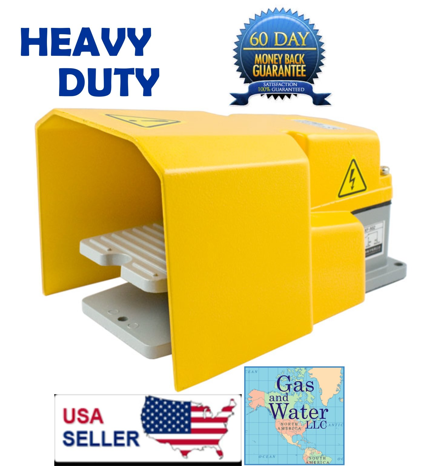 Heavy Duty Foot Switch Pedal with Guard 15A SPDT Electric Momentary Nonslip G&W