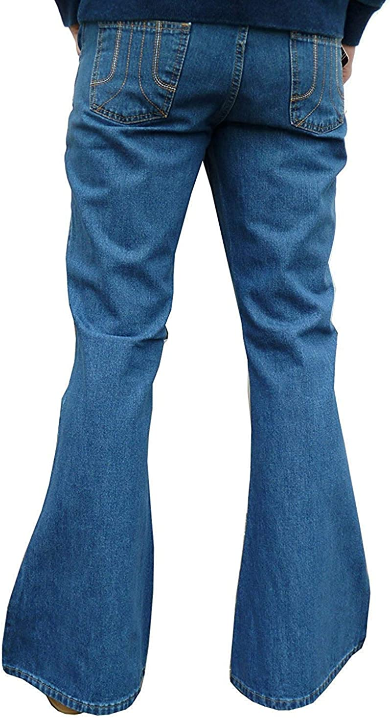 Fuzzdandy Mens Stonewashed Flares Bell Bottoms Denim Jeans Hippie Indie Flared Trousers