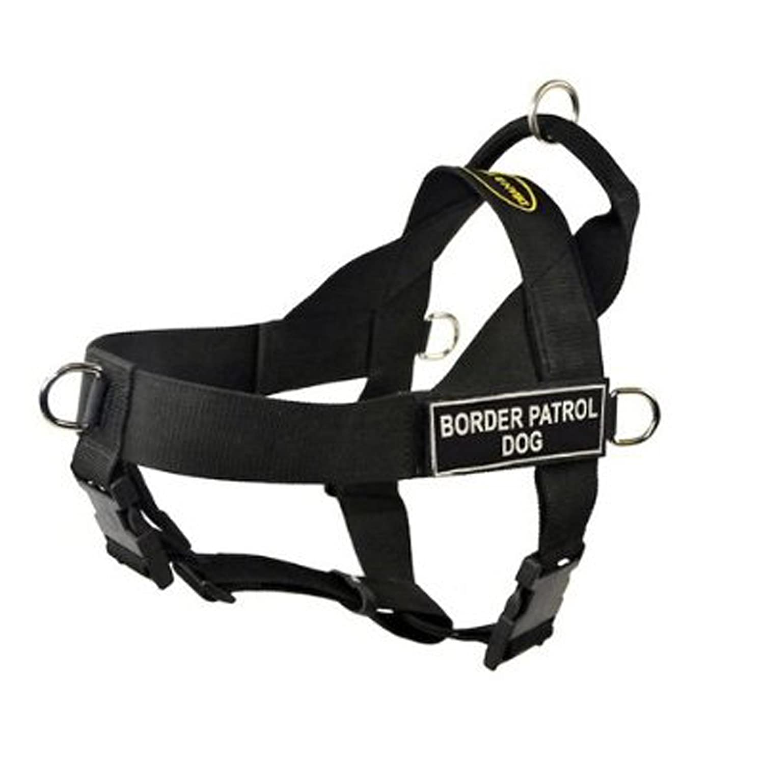 Dean & Tyler Universal No Pull Dog Harness, Border Patrol Dog, Black, Medium, Fits Girth Size  66cm to 81cm