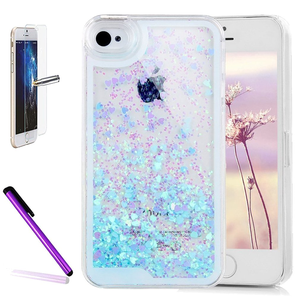 iPhone 4 Case, iPhone 4S Cover, ISADENSER 3D Love Floating Quicksand Shiny Bling Glitter Flowing Liquid Transparent Clear Hard PC Protective Case iPhone 4S. Blue Heart Paillette