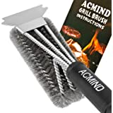 """Acmind Grill Brush and Scraper, 18"""" Best BBQ Brush Cleaner for All Grill, Safe 3 in 1 Stainless Steel Woven Wire…"""