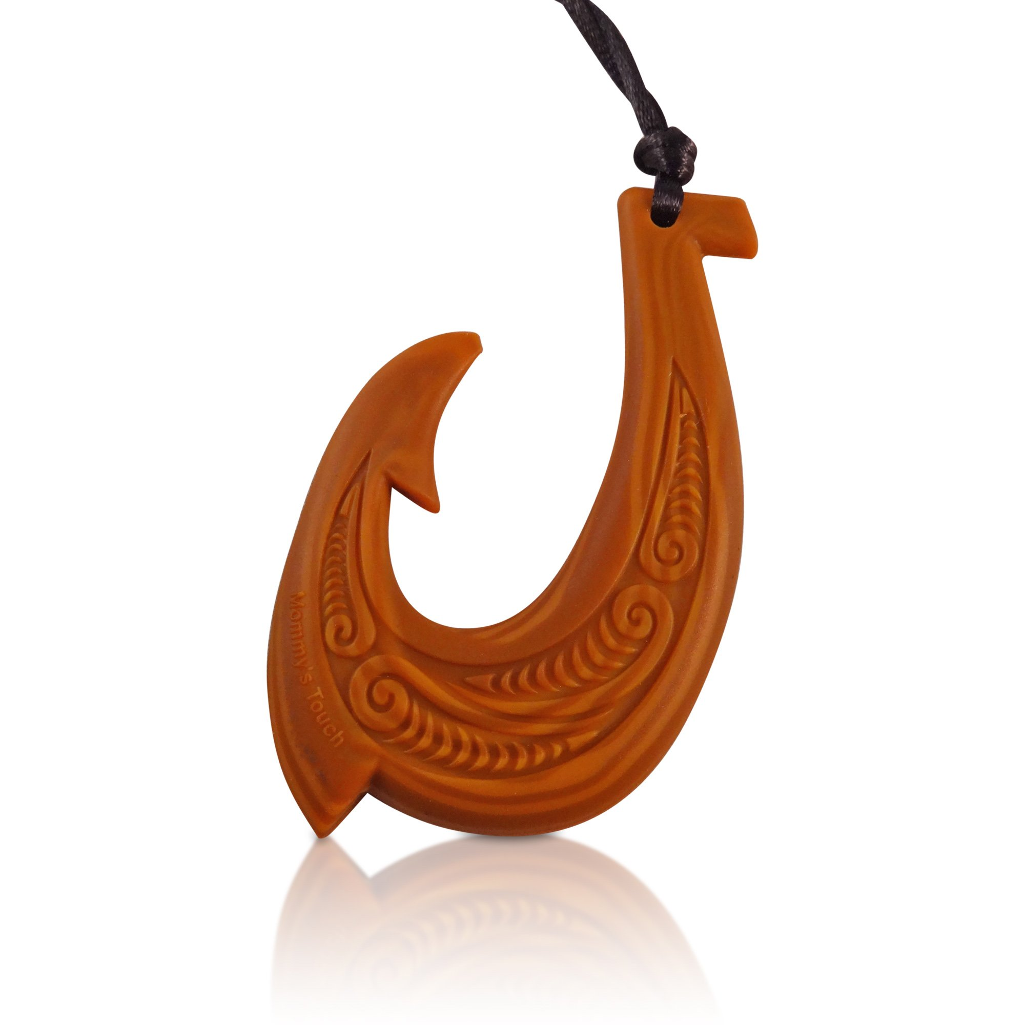 Hawaiian Fish Hook Sensory Pendant Silicone Teething Necklace, BPA Free Chewy Makau Teether (Wood Design)