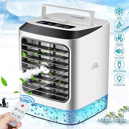 Aire Acondicionado Portátil, Mini Enfriador de Aire, 4 en 1 Mini Ventilador Humidificador Purificador, USB Air Cooler con 3 Velocidades y 7 Colores LED Luz,con Control remoto, para hogar y Oficina: Amazon.es: Hogar