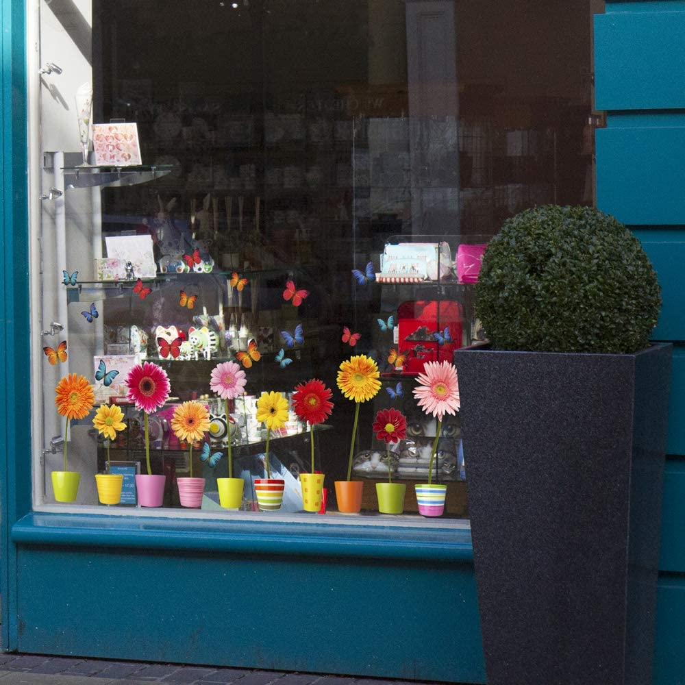 Stickers pour fen/être 10 Superbes Floral Stickers /électrostatiques d/écoratifs au Motif Gerbera en Pots avec 20 d/écoratifs au Motif Papillons