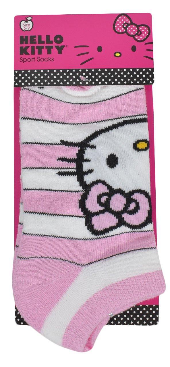 Hello Kitty Sports Women's Terry Bottom Stripe Design Socks, Pink/White, Medium