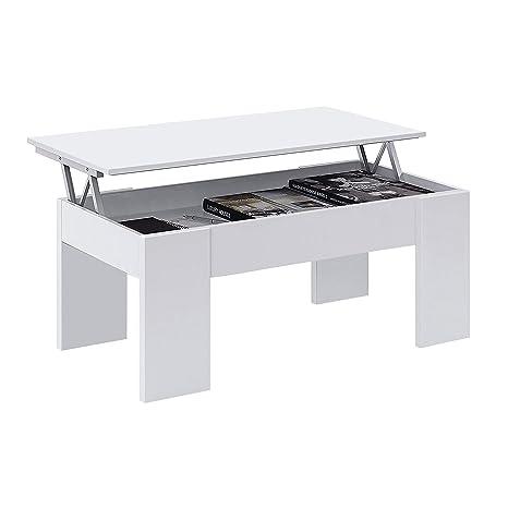 Habitdesign 001640A - Mesa de Centro elevable, mesita de Comedor acabada en Color Blanco Artik, Medidas: 100 cm (Largo) x 50 cm (Ancho) x 45-56 cm ...