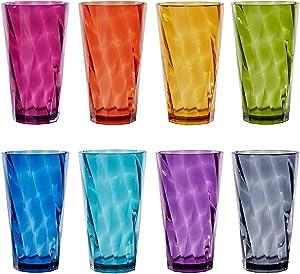 Optix 20-ounce Plastic Tumblers | set of 8 in Jewel Tone Colors