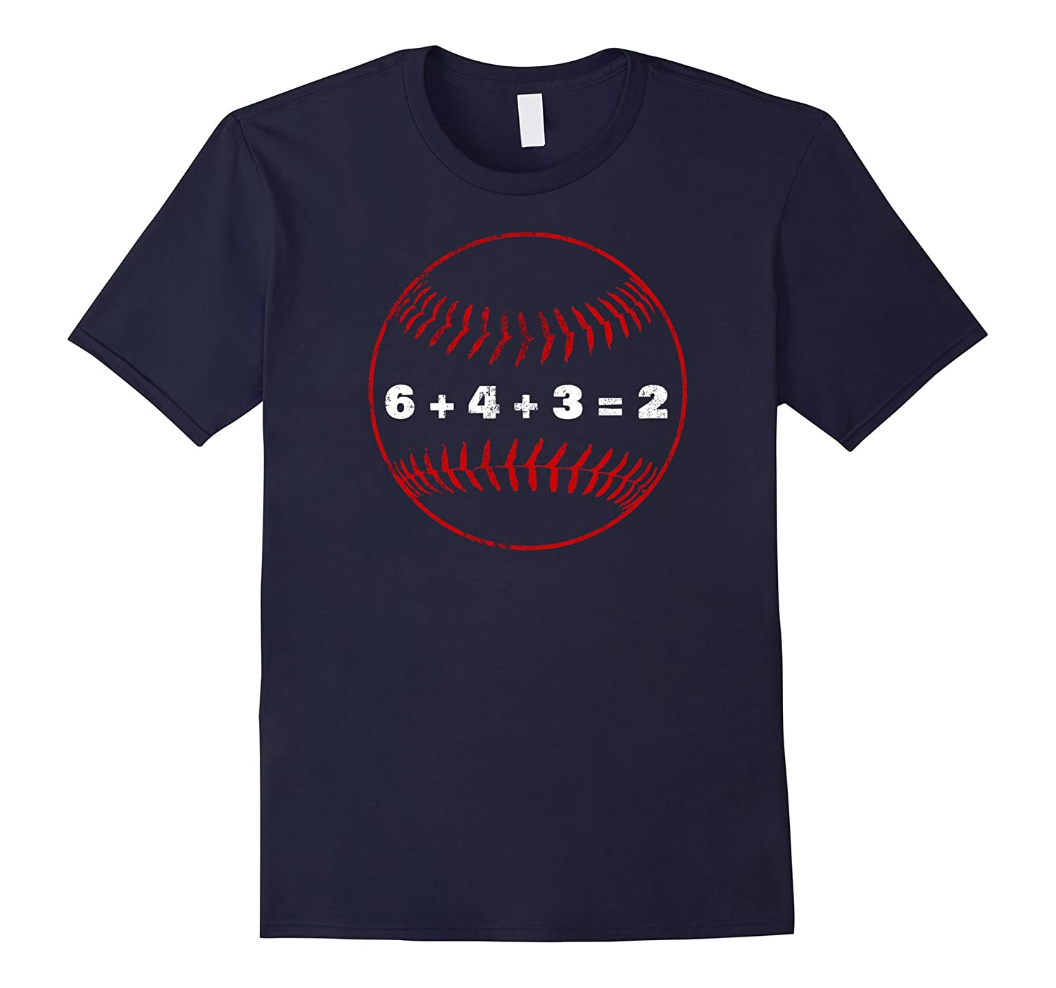 6+4+3=2 Double Play Baseball Player Distressed Tshirt Coach-Art