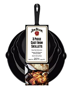 Jim Beam JB0195 Su Set of 3 Pre-Seasoned Cast Iron Skillet Set   Heavy-Duty Construction for Superior Heat Retention & Even Cooking, 6x8x10 Black