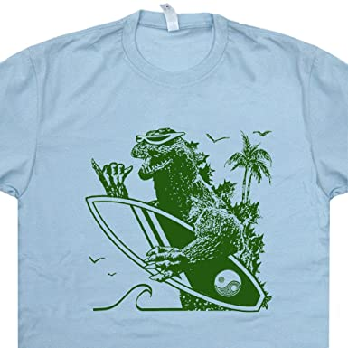 da1a4925 S - Surfing Godzilla T Shirt Funny Vintage Surf Tee Cool 80s Retro Surfboard  Graphic for