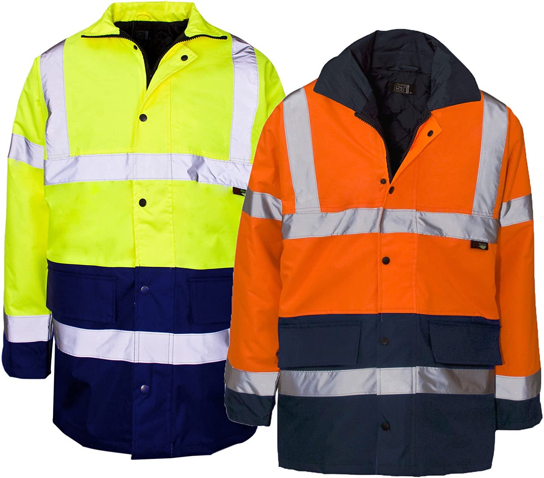 Mens Hi Vis Visibility 2 Tone Parka Jacket Work Wear Security Padded Coat Siz...