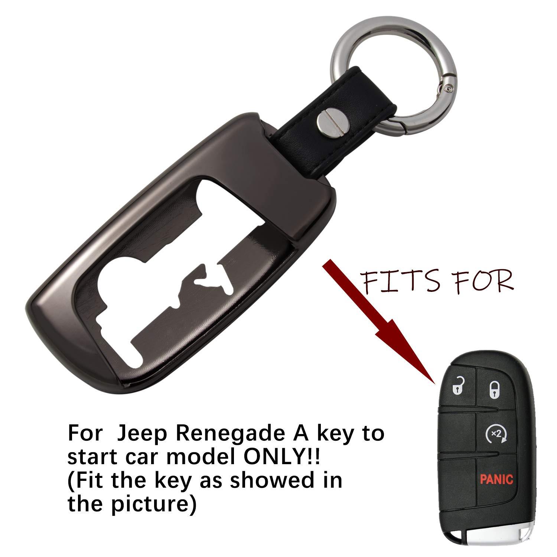 Black Camoo for Jeep Renegade Car Key Bag Holder Zinc Alloy Remote Fob Key Shell Case