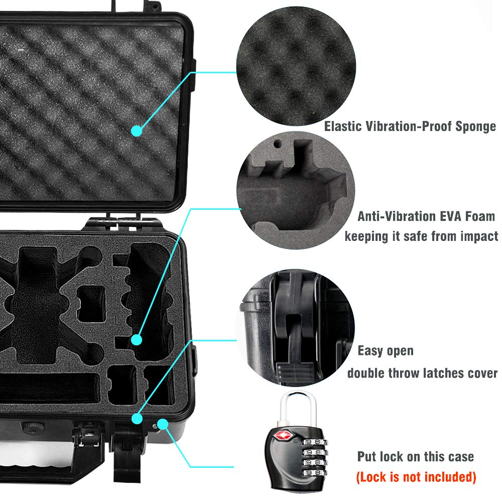 Lekufee Carrying Case Compatible for DJI Spark, Waterproof Hard Portable Case Holds 4 Batteries and DJI Spark Fly More Kits by Lekufee (Image #3)