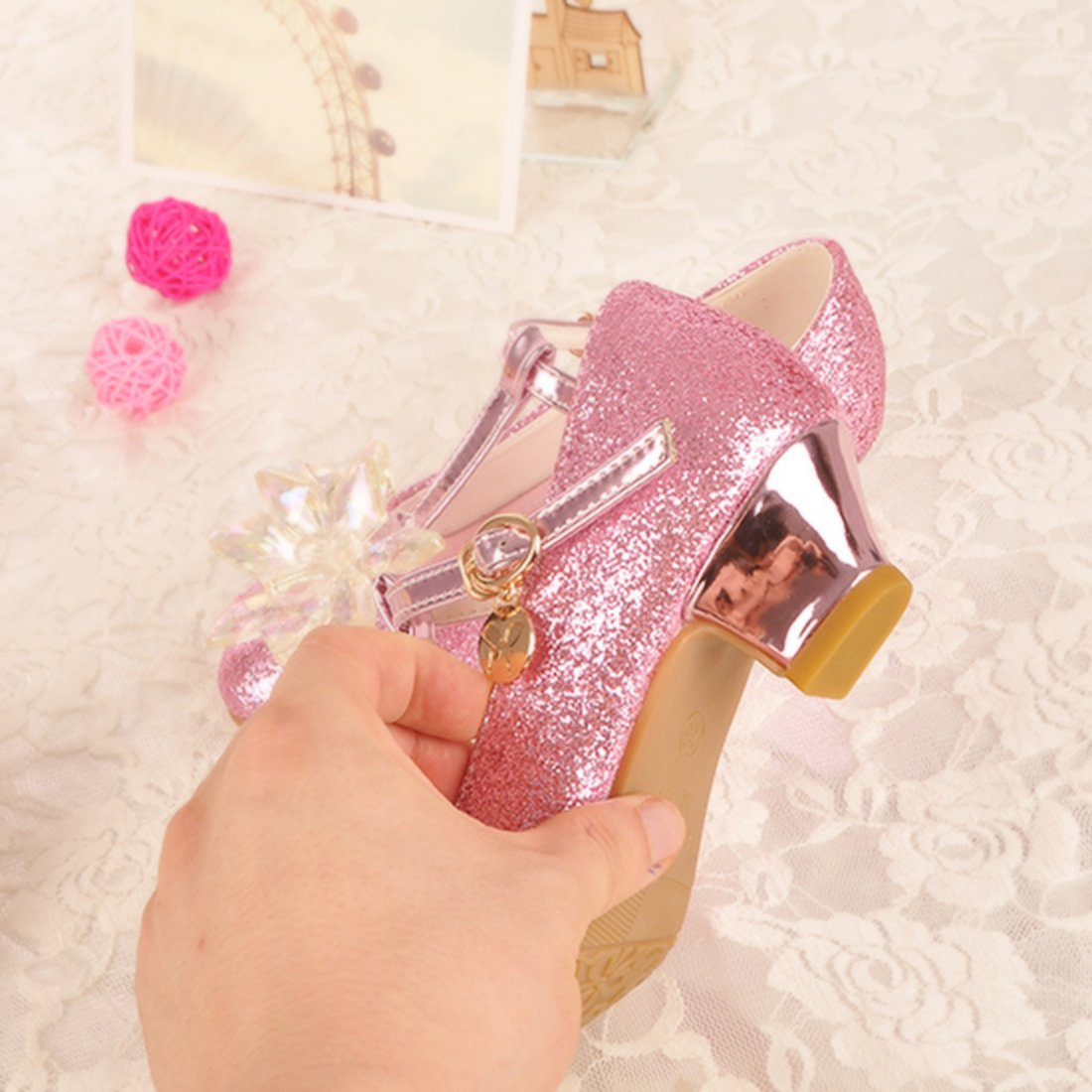 Kids Girls Princess Shoes Glitter Sequin Dance Party Shoes High Heels Mary Jane Wedding Shoes