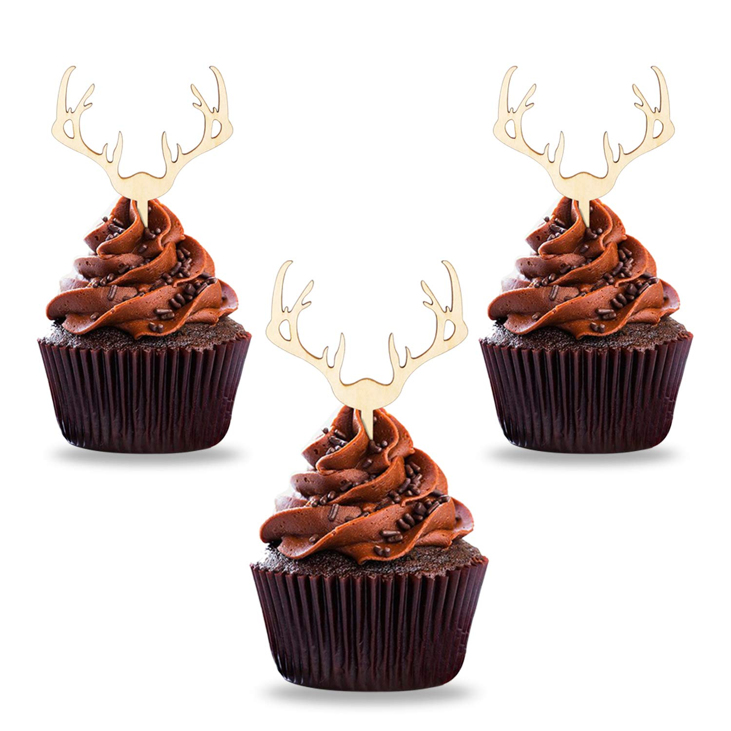 Antler Cupcake Toppers Wooden Deer Cake Picks Decorations Baby Shower Wedding Hunting Boho Rustic Country Birthday Theme Party Supplies Qty 24