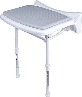GAH-ALBERTS, Sedile da doccia, imbottito, altezza regolabile, in plastica, colore: Bianco con imbottitura grigia, 380 x 370 mm