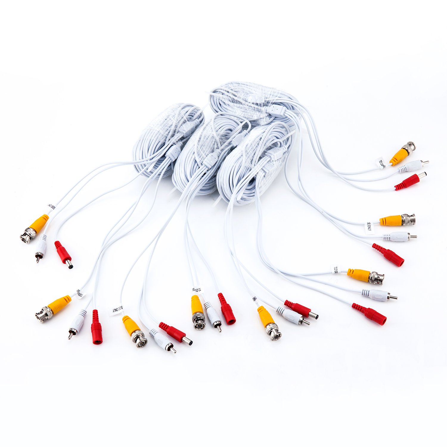4 x 60ft security camera BNC cable,Video Audio with power for CCTV camera installation,Pre-Made All in one Siamese coaxial plug ready