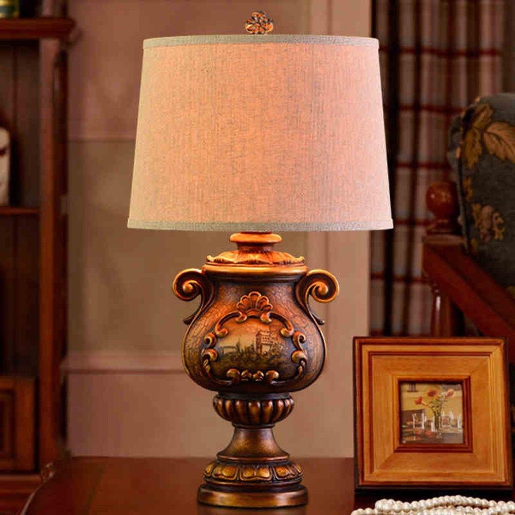 Hanlon E27-Schraubsockel, Tischlampe Kreativ Gericht Kontinentale Lampe Retro amerikanischen Wohnzimmer Villa Bedside Lampe ( farbe : Knopfschalter )
