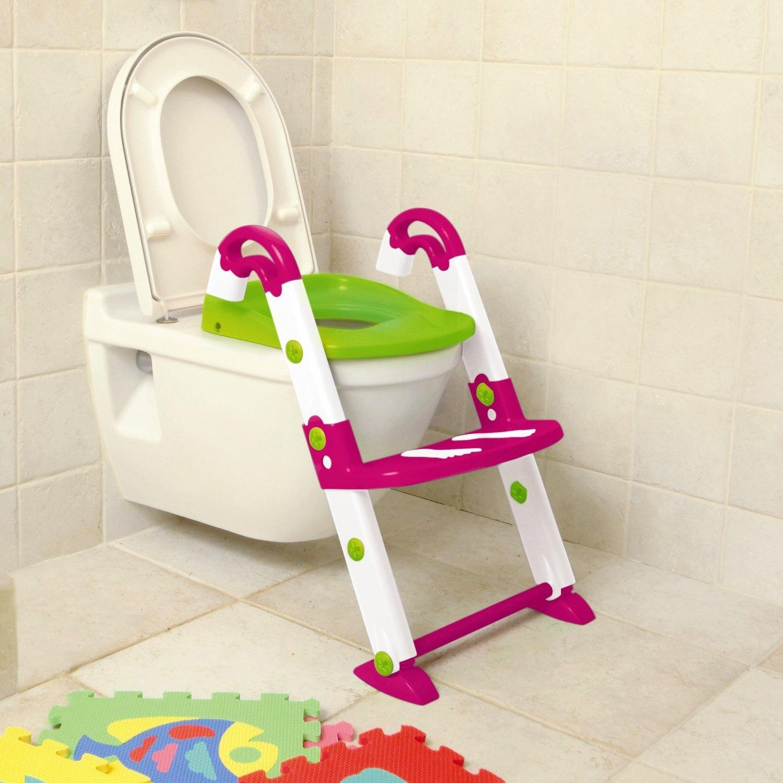 Rotho KidsKit Toilettentrainer 3 in 1 pink-weiß-grün 56270