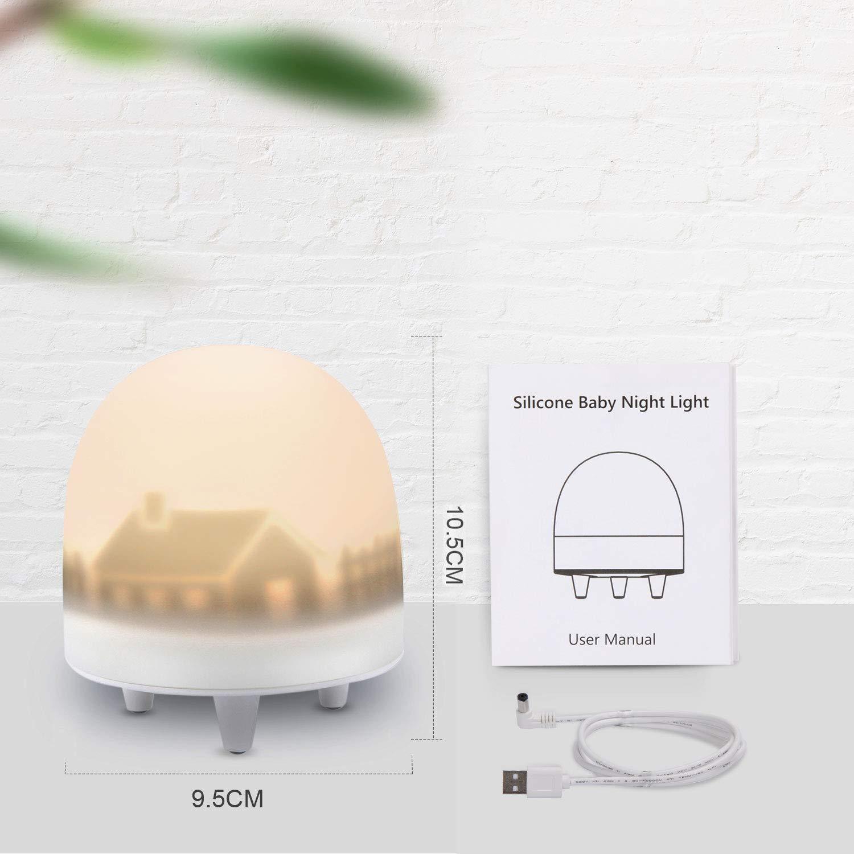Brillo y Color Ajustable y Control T/áctil Clase de eficiencia energ/ética A+++ Regalo para Ni/ños VOXON Luz Nocturna Infantil L/ámpara LED para Ni/ños Recargable Luces LED Silicona