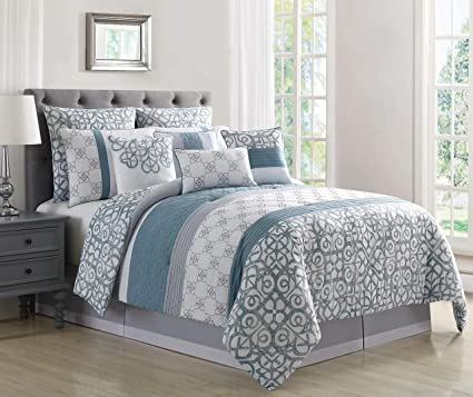 Kinglinen 10 Piece Tatiana Blue Gray White Comforter Set Queen