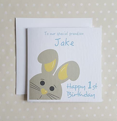 1st Birthday Card Boy Personalised First For Son Grandson Nephew Godson Brother Little Cute Bunny Childrens