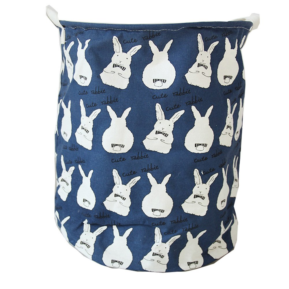 XIANIWTA Cartoon Foldable Cotton Cute Animal Cat Bear Alpaca Print Laundry Bins Hamper 35 x 45cm Basket Toys Storage with Handles (Rabbit-blue)