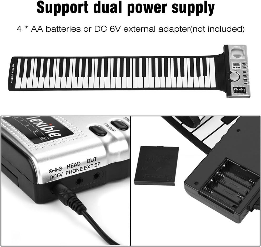 Elektronischer Tastatur mit Zwei Netzteilen Vbest life Elektrisches Roll Up Piano mit 61 Tasten Mobiltelefon Unterst/ützung f/ür MIDI Ausgangsverbindung zum Computer