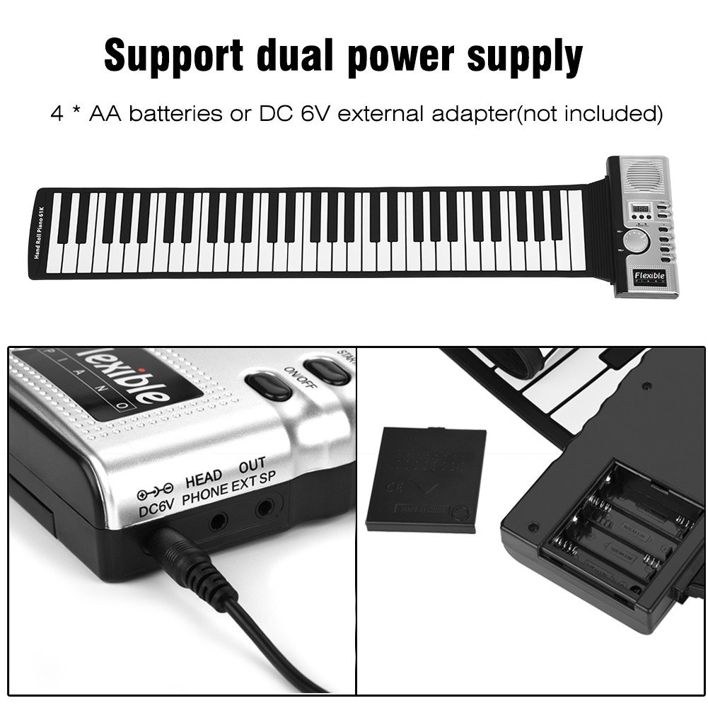 Dwawoo Portable Rolling Up Piano, 61 Keys Electronic Soft Piano Keyboard Hand Rolling Keyboard for Kids Beginners by Dwawoo (Image #3)
