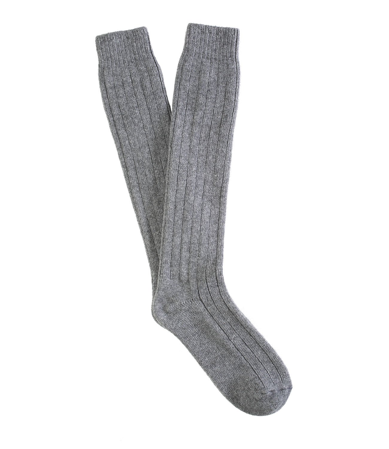 TORINO Knee-high, Grey fine cotton lisle Socks