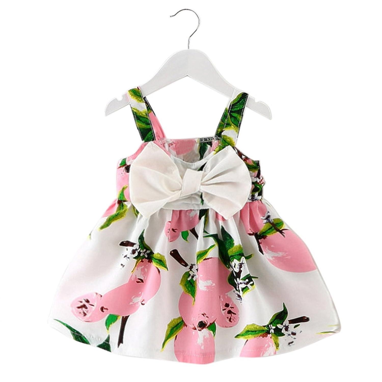 Italily-Ragazze Abiti estate del bambino Abito senza maniche floreale neonata casuali
