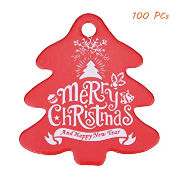 QX 100/5 cmx5.5 cm/Happy Christmas Tree/rot und grün Listing/Kleine ...