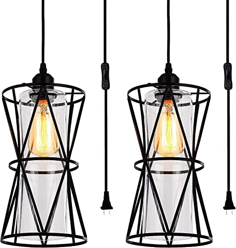 Farmhouse Pendant Light Sets of 2 Plug